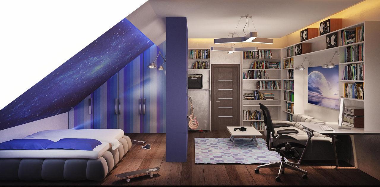 Дизайн мансардных комнат для подростков